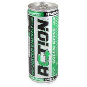 Action Green Apple Juiced Energy Drink 24x250 ml - pfandfrei